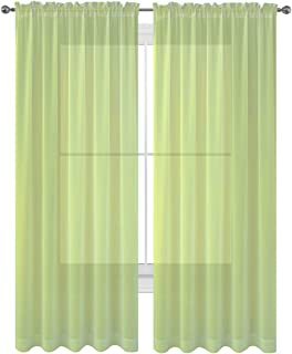 WPM WORLD PRODUCTS MART Drape/Panels/Scarves/Treatment Beautiful Sheer Voile Window Elegance Curtains Scarf for Bedroom & Kitchen Fully Stitched and Hemmed, Set of 2 Sage Green (Sage, 84