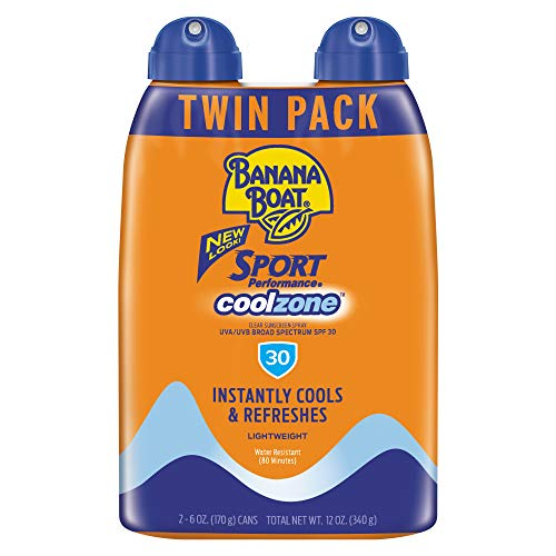 Banana Boat Sunscreen Sport Performance Coolzone, Broad Spectrum Sunscreen Spray, SPF 30, 6 Ounce - Twin Pack $5.00 or less @Amazon