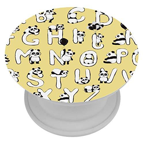 henghenghaha Grips Mount Houder Uitbreiding Telefoon Socket Prop Grip Geel Egel Gras Vogel, 4x4 cm, Gele brief Panda