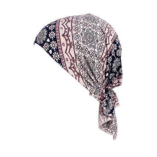 Locisne Damen bedruckte Kopftuch Schal Turban Headwear Chemo Beanie Schal Headwear für Krebs, Chemo, Haarausfall (FLORALPINK)