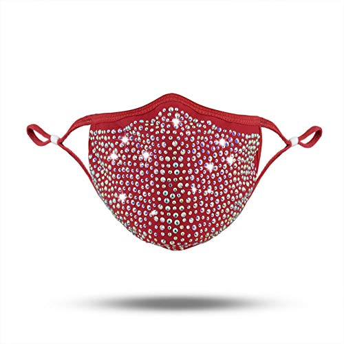 CCbodily Halloween Kunoichi Masquerade Mask for Women – Rhinestone Masquerade Mask Necklace Jewelry for Women (D-Red)
