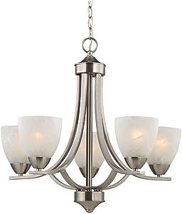 Design Classics Lighting Satin Nickel Modern Hanging Chandelier Light Fixture with Alabaster Glass Shades