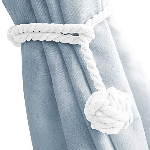 DEZENE 2 alzapaños para cortina, hecho a mano, cuerda de algodón natural y remates redondos, soportes decorativos para ventanas transparentes y paneles opacos, color blanco