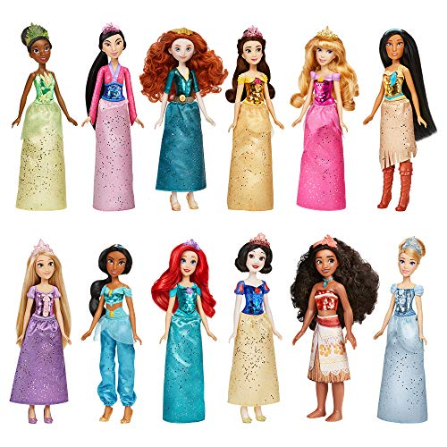 Disney Princess Royal Collection, 12 Royal Shimmer Fashion Dolls with Skirts and Accessories, Toy for Girls 3 Years Old and Up (Amazon Exclusive)