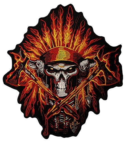 Patch Indianer Totenkopf Tomahawk Federn Biker Groß Backpatch Rückenaufnäher Aufnäher Bügelbild XXL Größe 22,7 x 26,4 cm