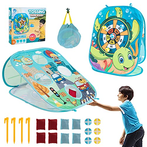 Bean Bag Toss Game Toy for 2 3 4 5 6 Year Old Outdoor Game Toys Double Sided Indoor Toss Cornhole Board Toy for Preschool Boys Girls Family Party Supplies Include 8-Beanbags 6-Sticky Balls (Blue)