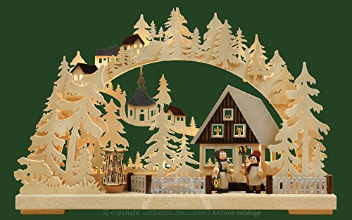 Authentic German Erzgebirge Handcraft 3D-Double-Arch - Seiffen in Winter - 44x29x7cm / 17x11x3 inch - RATAGS