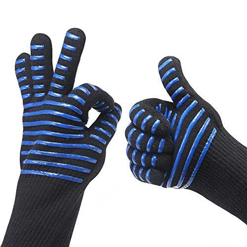 TEBAISE 1 Paar Grillhandschuhe Hitzerbeständig Handschuhe Ofenhandschuhe Kochhandschuhe für Grillen, Kochen, Backen, BBQ und Schweißen Karneval Fasching Fasnacht