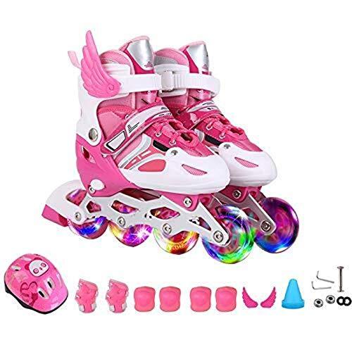 HAIZEI GLVG Roller Skates ates Kind Männer Frauen 3-12 Jahre Kinder Flash Einstellbare Schlittschuhe Kinder Anfänger Mädchen Jungen Inline Skates Größe Erwachsene Rollerblades