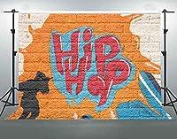 HDグラフィティの背景色ヒップホップレンガの壁の写真の背景綿布の若者をテーマにしたポートレート写真スタジオの小道具7x5ftLHFS387