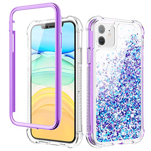 Caka iPhone 11 Case, iPhone 11 Glitter Liquid Full Body Case with Built in Screen Protector Moving Bling Quicksand Girls Girly Women Cute Shockproof Protective Case for iPhone 11 6.1 inches (Purple)