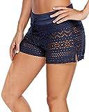 YAOMEI Mujer Shorts de baño, Trajes de baño Bañador Deportivo Traje de Baño Bañador de natación Bikini para Mujer Bragas Pantalones Cortos, con cordón Ajustable Estilo Boyleg (M, B-Azul)