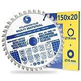 FALKENWALD® Sägeblatt 150x20 mm (inkl. 16 und 10 mm Distanzring) mit 40 Zähnen - MULTI für Holz, Metall, Aluminium und Kunststoffe - kompatibel mit TE-CS 18 Li, Makita DCS553, Bosch & weiteren Marken