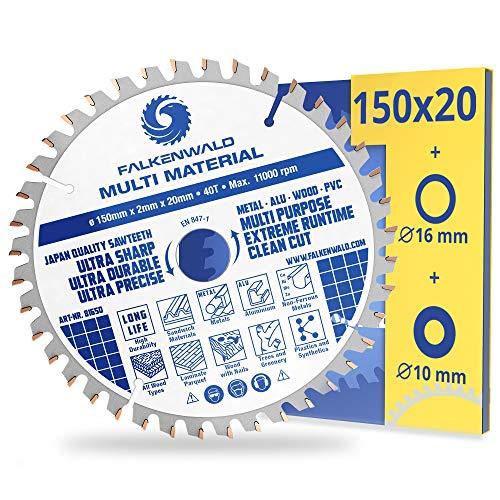 FALKENWALD® Hoja de sierra (150 x 20 mm, incluye 16 y 10 mm, 40 dientes, para madera, metal, aluminio y plásticos, compatible con TE-CS 18 Li, Makita DCS553, Bosch y otras marcas
