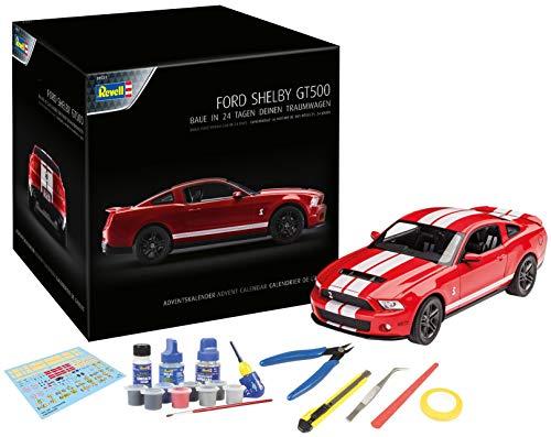 Revell 01031 Adventskalender Dream Cars Ford Shelby GT im Maßstab 1:25 | 19,3 cm | mit allem erforderlichem Zubehör | ab 14 Jahren in 24 Tagen zum selbstgebauten Traumauto, Rot