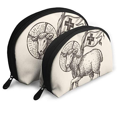 Agneau Mouton Tenant Croix Symbole Religieux Les Arts Poche Zipper Organisateur De Toilette Voyage Maquillage Pochette Sacs Portable Sacs Pochette Sacs De Rangement