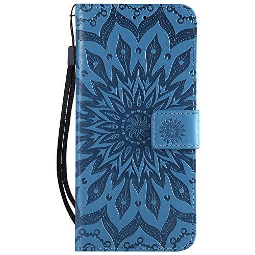 Capa para Xperia XZ3, Dfly Premium Slim Couro PU em relevo Design Mandala Função Suporte com Compartimentos para Cartões, Capa Carteira Flip para Sony Xperia XZ3, Azul