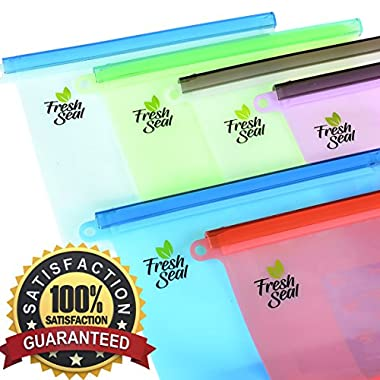 Fresh Seal Reusable Silicone Food Storage Bags | 6 Pack Set | Microwave, Refrigerator & Dishwasher Safe | Eco-Friendly, Reusable & Recyclable | FDA & SGS Approved 100% High Quality Food Grade Silicone