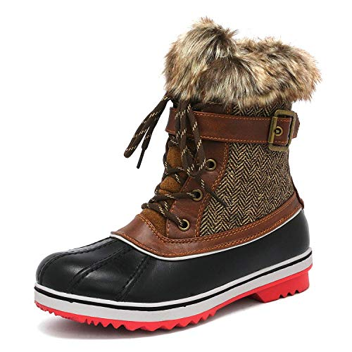 DREAM PAIRS Women's River_3 Brown Mid Calf Winter Snow Boots Size 9 M US