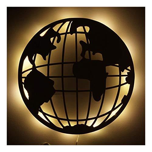#014 Holz Geschenkartikel Geschenke I Led Lampe Nachtlicht Globus