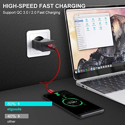 etguuds USB C Kabel Kurz [ 0,3m/30cm 2Stück ], Langlebige Nylon Typ C Ladekabel und Datenkabel USB C, 4.2A Schnellladekabel für Samsung Galaxy S10 S10e S9 S8 S20 +, A50 A40 A51 A41 A71, Sony, Xiao, LG
