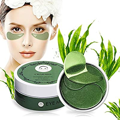 Eye Mask, Charmss Seaweed Green Eye Pads, Collagen Anti Wrinkle Aging Eye Patches, Cooling Eye Patches for Dark Circles, Puffy Eyes, Dry Eyes, Remove Eye Bags, Lighten Eye Fine Wrinkles.(60pcs-green)