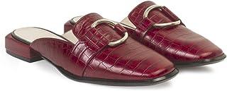 Zapato Destalonado Plano Mules de Mujer | Mules Mujer con Tacón 1 cm | Piel Burdeos Rojo con Estampado Cocodrilo | Detalle...