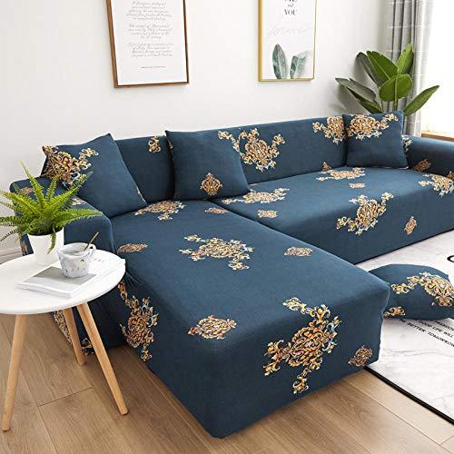 Funda Sofas 2 y 3 Plazas Flores Amarillas Fundas para Sofa con Diseño Universal,Cubre Sofa Ajustables,Fundas Sofa Elasticas,Funda de Sofa Chaise Longue,Protector Cubierta para Sofá