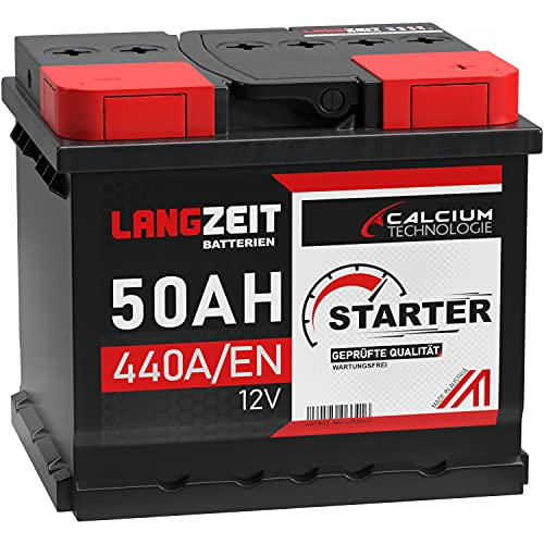 LANGZEIT Autobatterie 12V 50Ah 440A/EN +30{4876f191296fb0731a84f5606ad8725e57f723ccfda8aafc7ec7f11cb4160934} mehr Leistung ersetzt 41AH 44AH 45AH 46AH 47AH