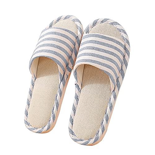Zapatillas de Lino de Algodón Zapatillas Interior Antideslizantes Rayas Unisex Interior Sandalias Casual Zapatillas de Punta de Puertas Abiertas Zapatos de Casa (azul claro, EU37-38)