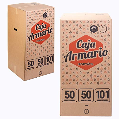 TeleCajas | (2x) Cajas Armario Portátil para Ropa (50x50x100 cms)