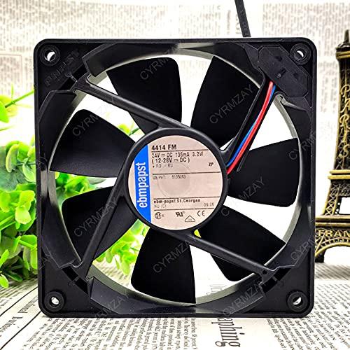 CYRMZAY Ventilador Compatible para ebmpapst 4414 FM 24V 3.2W 2-Wire 12cm 12025 Cooling Ventilador