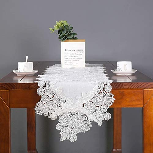 Lilspud White Lace Table Runner Embroidered Hollow Doilies Dresser Scarves for Wedding Buffet product image