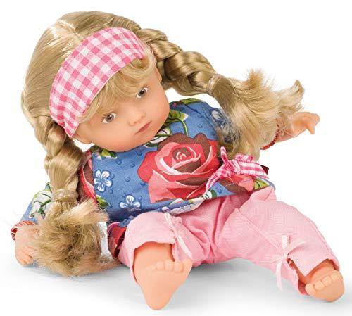 Götz 1987229 Mini-Muffin Roses Garden Puppe - 22 cm große Babypuppe, gemalte braune Augen, Blonde Haare - Weichkörperpuppe in 4-teiligen Set - ab 18 Monaten
