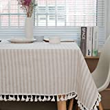meioro Manteles Rectangular Mantel Antimanchas Mantel para Mesa de Lino Striped Tassel Tablecloth La...