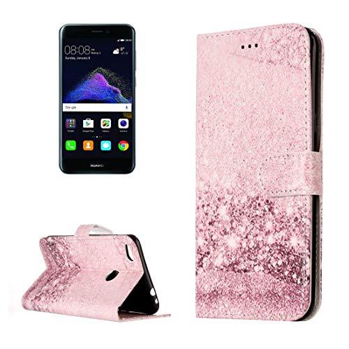 HUANGMENG Funda móvil for For Huawei P8 Lite (2017) Funda Protectora de Cuero con Flip Horizontal con patrón de Oro Rosa con Soporte y Ranuras for Tarjetas y Cartera (Color : Color4)