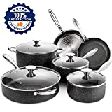 Nonstick Cookware Set, 10 Piece Stone-Derived Cooking Pots and Pans with Lids, Home Kitchenware with...