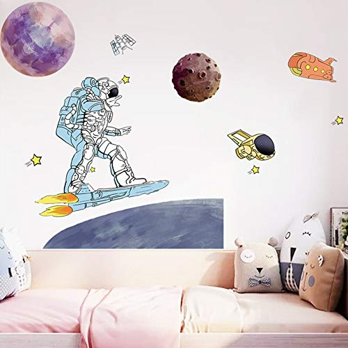 Astronauta espacio estrella decoración familiar pegatinas de pared jardín para niños habitación Mural decoración vinilo pegatinas de pared decoración del hogar calcomanías