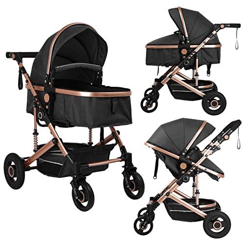 Bassinet Convertible Reversible Baby Stroller - 2-in-1 Folding High Landscape Pushchair with Adjustable Backrest for Newborn and Toddler Pram (Black)