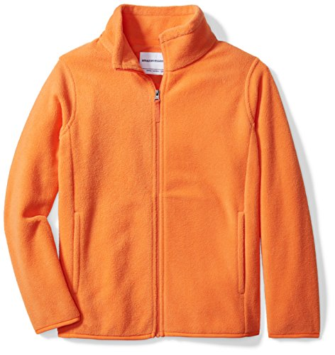Amazon Essentials Kids Boys Polar Fleece Full-Zip Jacket, Orange, Large