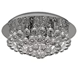 Discount4product Modern Ceiling Light Fixture Crystal Chandelier For Living room (Transparent)