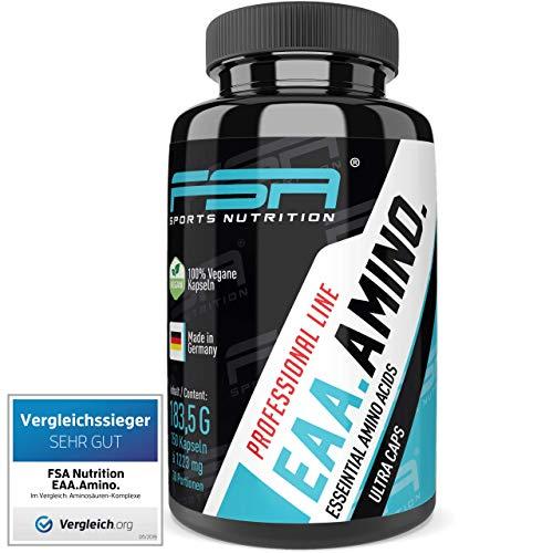 EAA 150 Kapseln, 1000 mg pro Kapsel, Vergleichssieger 2019*, Essentielle Aminosäuren, Vegan - Made in Germany - FSA Nutrition