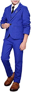 Boys Suits 3 Pieces Royal Blue Purple Green 3 Colors Suit Jacket Vest Pants Set