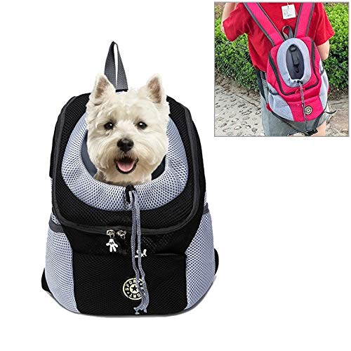 Backpackage de Viaje portátil de Doble Hombro Malla de Malla Cabeza para al Aire Libre Pet Port Porter PORTANS Bolsa Bolsa Delantera, Tamaño: S (Color : Black)