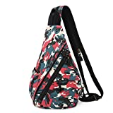 Canvas Sling Bag - Small Crossbody Backpack Shoulder Casual Daypack Rucksack for Men Women Outdoor Cycling Hiking Travel (Camouflage Red)