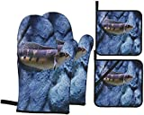 Beautiful Emperor Snakehead Fish Darkfin Freshwater Oven Mitts and Pot Holders Set 4PCS Heat Resistant Kitchen Gloves for Cooking Baking BBQ