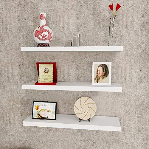 Juego de 3 estantes flotantes blancos montados en la pared, estante de almacenamiento de pared de madera con soportes invisibles, organizador decorativo para sala de estar, dormitorio, baño, cocina