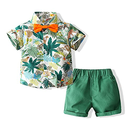 WHZDQ Conjunto de Traje de Caballero Ropa de Verano para niños, Material de algodón Estampado de un Solo Pecho, cómodo de Usar,Green,100