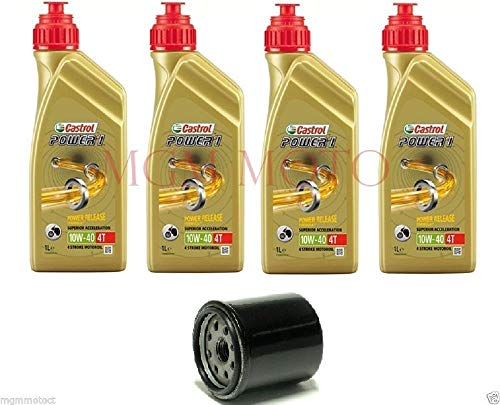 MGM - Kit de revisión de 4 aceites Castrol 10W40 Power 1 + filtro de aceite Yamaha FZ6 Fazer