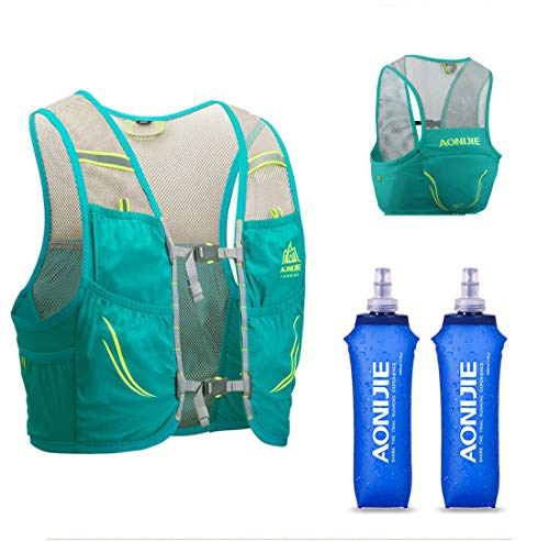 AONIJIE Lovtour Hydration Race Vest,2.5L Running Vest Lightweight Pack with 2 Soft Water Bottles Bladder for Marathoner Running Race Cycling Hiking Camping Biking (Mint Green(M-L))